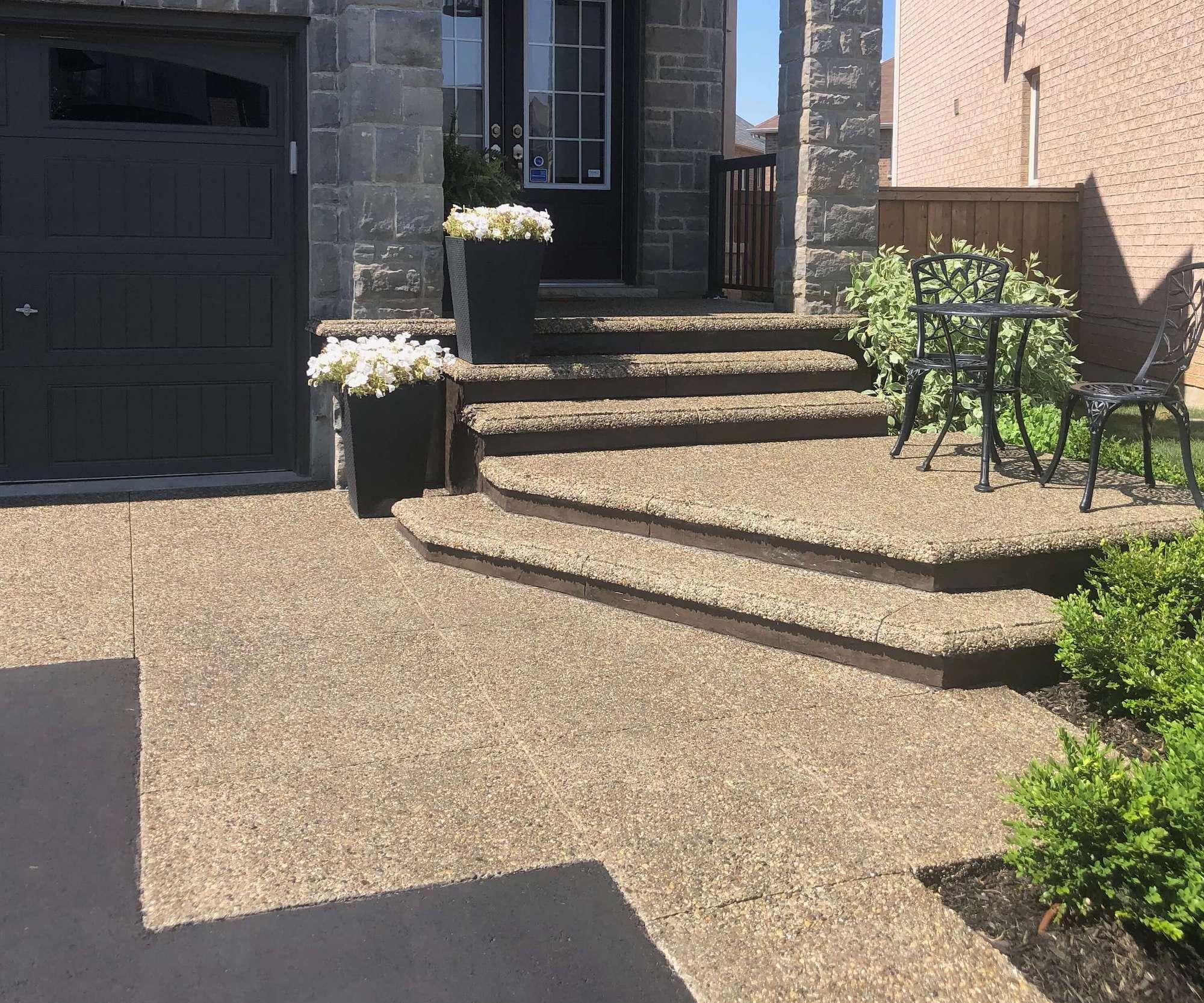 Exposed Walkway with Custom Driveway design, Walnut Risers